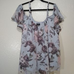Torrid blouse cold shoulder floral 2X